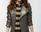 Vintage Leather Moto Jacket // Vintage Gray Coat // Cropped Asymmetrical Jacket // Biker Jacket // Fall Coat Jacket
