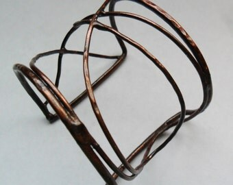 Copper Wire Bracelet, Hammered Copper Wire Bracelet