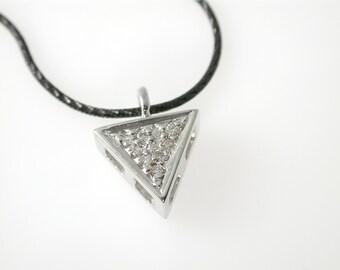 Triangle Necklace, Diamond Pendant, Diamond Necklace, Modern Necklace 14 KT, Drop Pendant Geometric Pendant, Black Oxidized Silver Chain