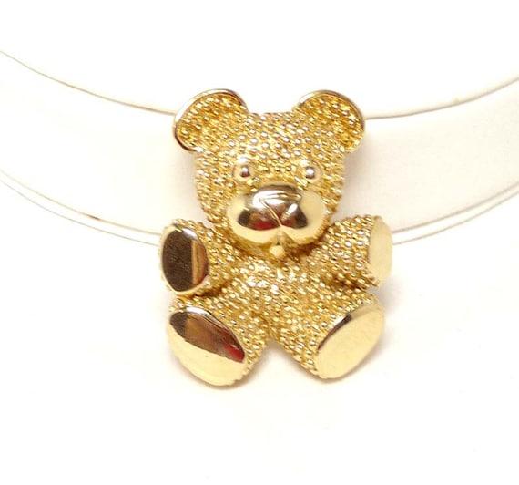 Stippled Teddy Bear Brooch - Gold tone pin