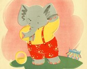 Cute Little Elephant print for baby girl nursery or first birthday present, 1944 antique print, nursery print Elephant