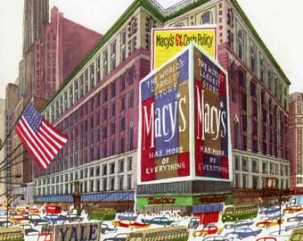 Macys store New York, mid century New York print, New York street scene