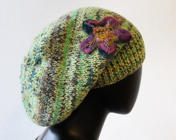 Key Lime Slouch Hat - Gorgeous Green Slouchy Hat - Hand-knitted Green Tam Hat