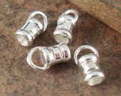 Silver Cord End, Sterling End Cap, Sterling Crimp, Crimp For Leather Cord,  ID 3mm Cord End - 6 Pieces