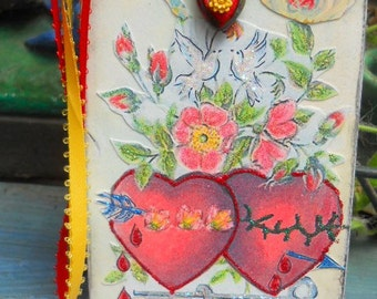 Sacred Immaculate Hearts Original Collage Tag Icon Ornament Bookmark