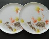 Miramar Melmac Dinnerware Weber Plastics L. A. Calif. Dinner Plates with Pine Cones Orange and Yellow Flowers