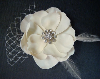 Vintage Wedding hair flower / ivory flower champagne flower with netting and feathers rhinestone hair flower / bridal ivory flower clip
