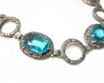 "Vintage Aqua Blue Glass Vintage Bracelet Large Blue Art Deco Antique Link Bracelet 6 3/4 - 7"" Gift for Her Bright Link Bracelet Under 50"
