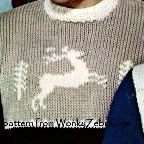 Items similar to Vintage Knit Regal Reindeer Sweater knitting Pattern PDF 479...