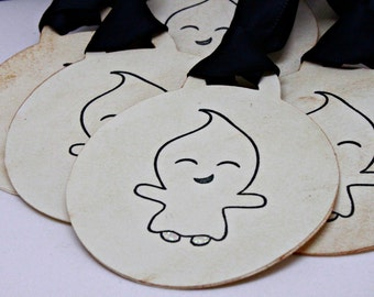 Halloween Gift Tags (Double Layered) - Ghost Tags - Monster Tags - Favor Tags - Handmade Halloween Favor Tags (Set of 8)