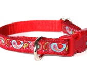 Paisley Dog Cat Collar, 1/2 inch width, Teacup, Red Collar, Small Puppy