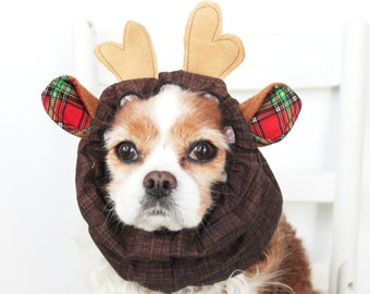 Reindeer Dog Snood - Stay-Put 3 Rows Elastic Thread - Christmas Dog Snood - Holiday Pet Accessory