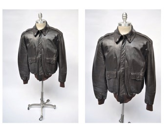 vintage leather bomber flight JACKET a2 military style LL BEAN large 44
