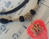 Guitar Pick Necklace - Love Necklace - Guitar Pick Jewelry - Christian Necklace - Hot Pink - Christian Jewelry