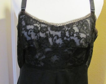 Beautiful Black Ladies Lace Full Slip  - Size 38