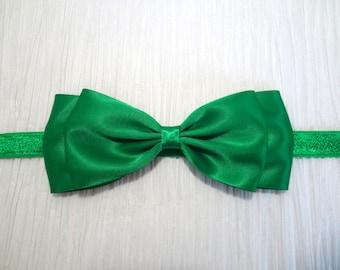 Big Emerald Green Headband. Green Satin Hair Bow Headband. Baby Hair Accessories. Girls Hair Accessories, Emerald Green Bow, Christmas