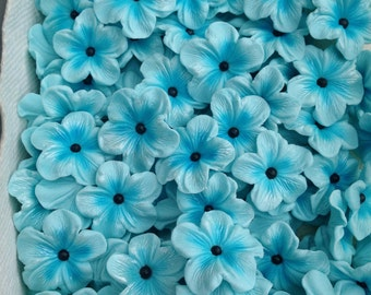 Light Blue Flowers with the black dragee Edible Cake Decorations 25 piece