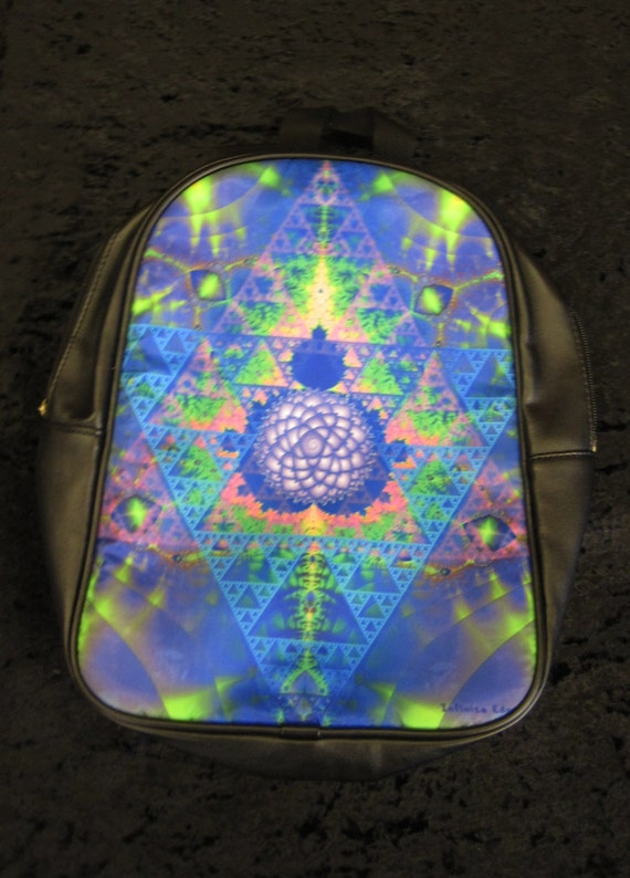 Sacred Geometry Fractal psychedelic mini Backpack-large leather-zen chakra trippy STOCK