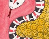"Zentangle 156 – ""Year of the Snake""  Original Art - ATC/ACEO Artist Trading Card"