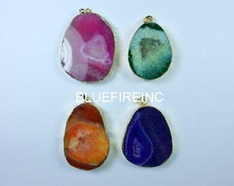 Geode Druzy Pendant 24kt,Gold Plated Edge Geode druzy Pendant in Pink/green/orange/purple  color, gemstone Pendant