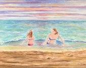Beach Sisters Watercolor Beach Giclee Print Beach Sunset Wall Art Beach House Gift Home Decor