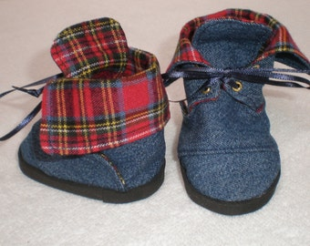 DENIM & RED PLAID Boots 18 inch doll clothes