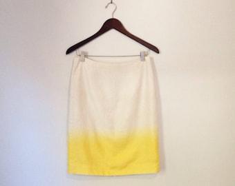 Yellow linen ombré skirt
