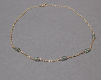 Dainty Moss Aquamarine Necklace