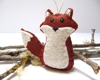Personalized Fox Ornament, Fox Christmas Ornament, Wool Felt Fox Christmas Ornament, Red Fox Woodland Ornament, Custom Fox Ornament