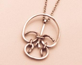 Skull Necklace, Sterling Silver and 14k Gold, Handmade, skull pendant, gold and silver skull charm, skull totem, blacksmith style