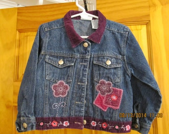 Little girls denim jacket- size 4-Appliqued and Embroidered