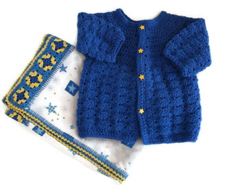 Stars Blue and Yellow Nighttime Sky Flannel Blanket Granny Squares and Royal Blue Crochet Sweater 3-6 Months Matching Set for Baby Infant