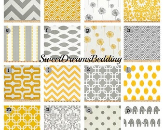 Custom Crib Bedding You Design   Bumper and Bedskirt in Gray and Yellow