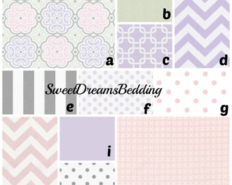 Custom Crib Bedding You Design   Bumper and Bedskirt inLilac and Pink Nyle