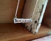 Sale- Modern handstamped pewter bar necklace