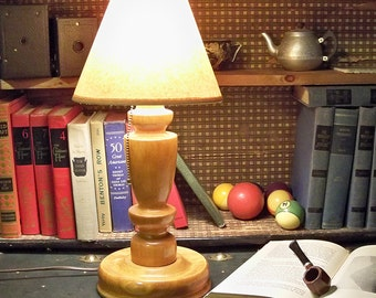Mid Century Turned Wood Table Lamp