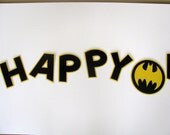 Batman Inspired Happy Birthday Banner - MADE TO ORDER