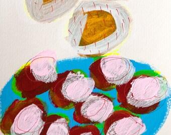 painting rain red day original on paper acrylic fine art mixed media scandinavian art