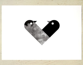 Love Birds print in black by Erupt Prints. Black love heart wall decor for a striking wall