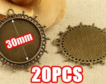 20 Pendant Trays- 30mm Round Crown Frame Bezel Cup Cabochon Mountings Wholesale, Antique Bronzed Tone,156g - HA3569