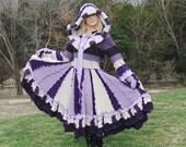 ON SALE Elf Coat, Wild Iris,  purple, lavender and sand, size medium to large