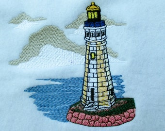 Embroidered Kitchen Towel Lighthouse
