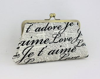 Handwriting Frame Clutch / English Letter Kisslock Clutch / Everyday Clutch - the Christine Style Clutch