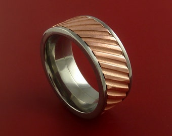 Copper Inlay Spinner Unique Titanium Band Custom Made to order Sizing 5-18