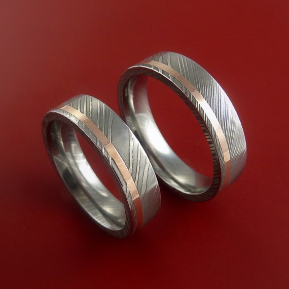 Matching Set 14k Rose Gold Damascus Steel Ring Wedding Bands