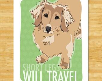Longhaired Dachshund Art Print - Short Legs Will Travel - Cream Longhaired Dachshund Gifts Funny Dog Art