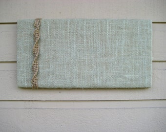 PinBoard in Burlap with a natural jute twine macramed detailing for a Retro and beachy styled decor for your cabin or office, custom options