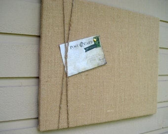 Burlap and Jute Twine Bulletin Board, Natural buralp Photo Memory Board, Memo Pin Board, 16 x 20 inches