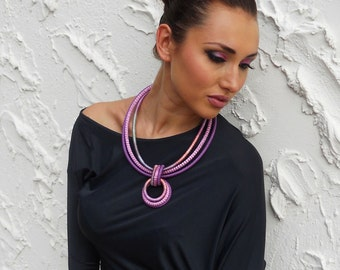 Circles Statement Necklace Orchid