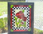 Stained Glass Mosaic Ruby Red Rose Window Repurpose Frame